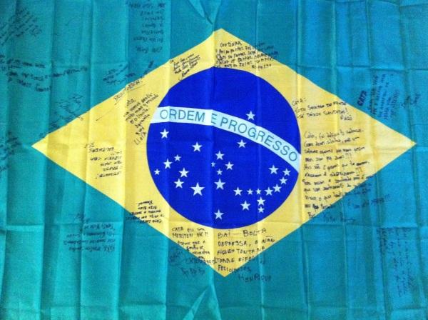 brazil, bandeira, signed brazilian flag