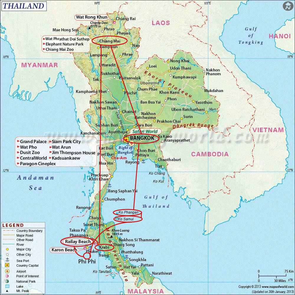 Thailand the country of a million smiles the world in a backpack thailand map 20 day trip to thailand best places in thailand holiday destinations gumiabroncs Choice Image
