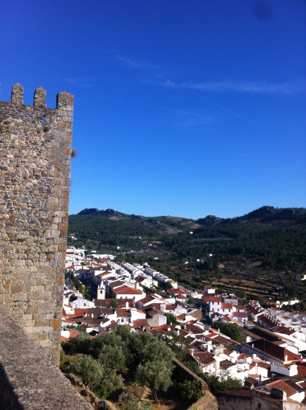 Castle of Castelo de Vide, view from the roof of the castle, standing on top of the world